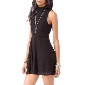 Forever 21 Lace Sleeveless Turtleneck Fit & Flare